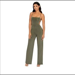 Olive Green Wide Leg Oh Polly Jumpsuit